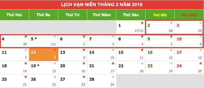 Tết Nguyên đán Kỷ Hợi 2019 người lao động nghỉ liên tiếp 9 ngày