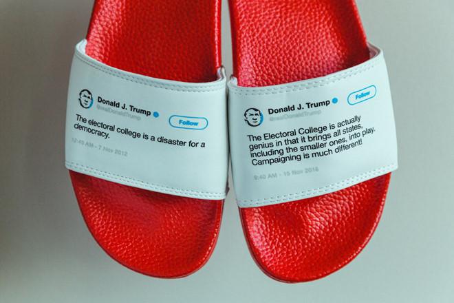 Thành triệu phú đô la nhờ bán dép in... twitter của ông Trump