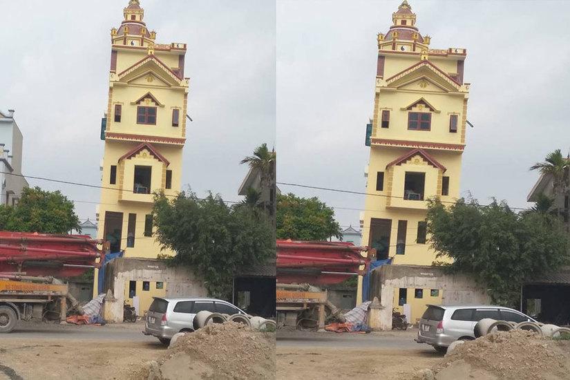 Ngôi nhà 5 tầng bị nghiêng ở Hà Nam vừa xây dựng xong nhưng chủ nhân không dám ở