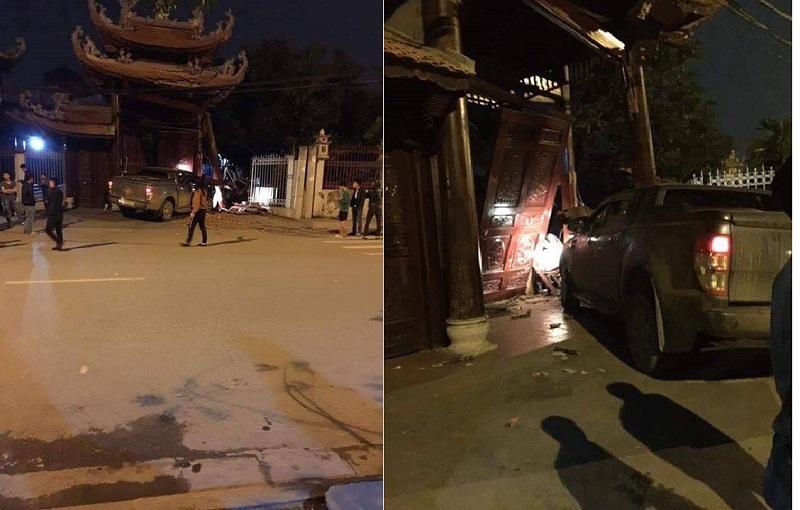 Tài xế lái ô tô tông sập cổng chùa ở Hà Nội