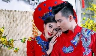 Vợ chồng Lâm Khánh Chi khoe sắc trong áo dài Xuân