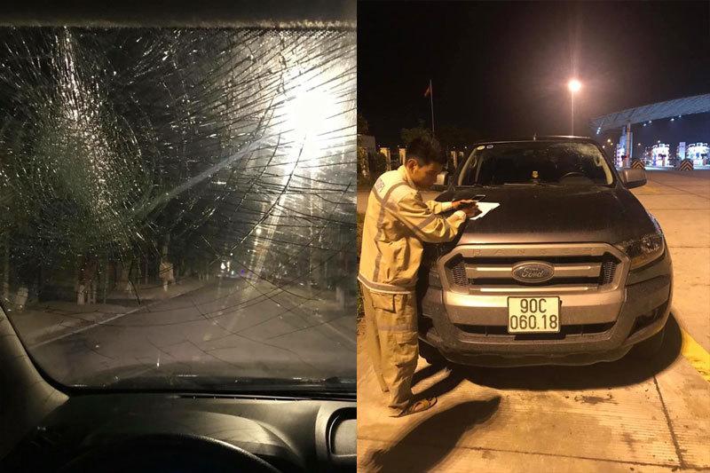 Hải Phòng: Điều tra vụ việc ô tô bị ném vỡ kính khi đi trên cao tốc2
