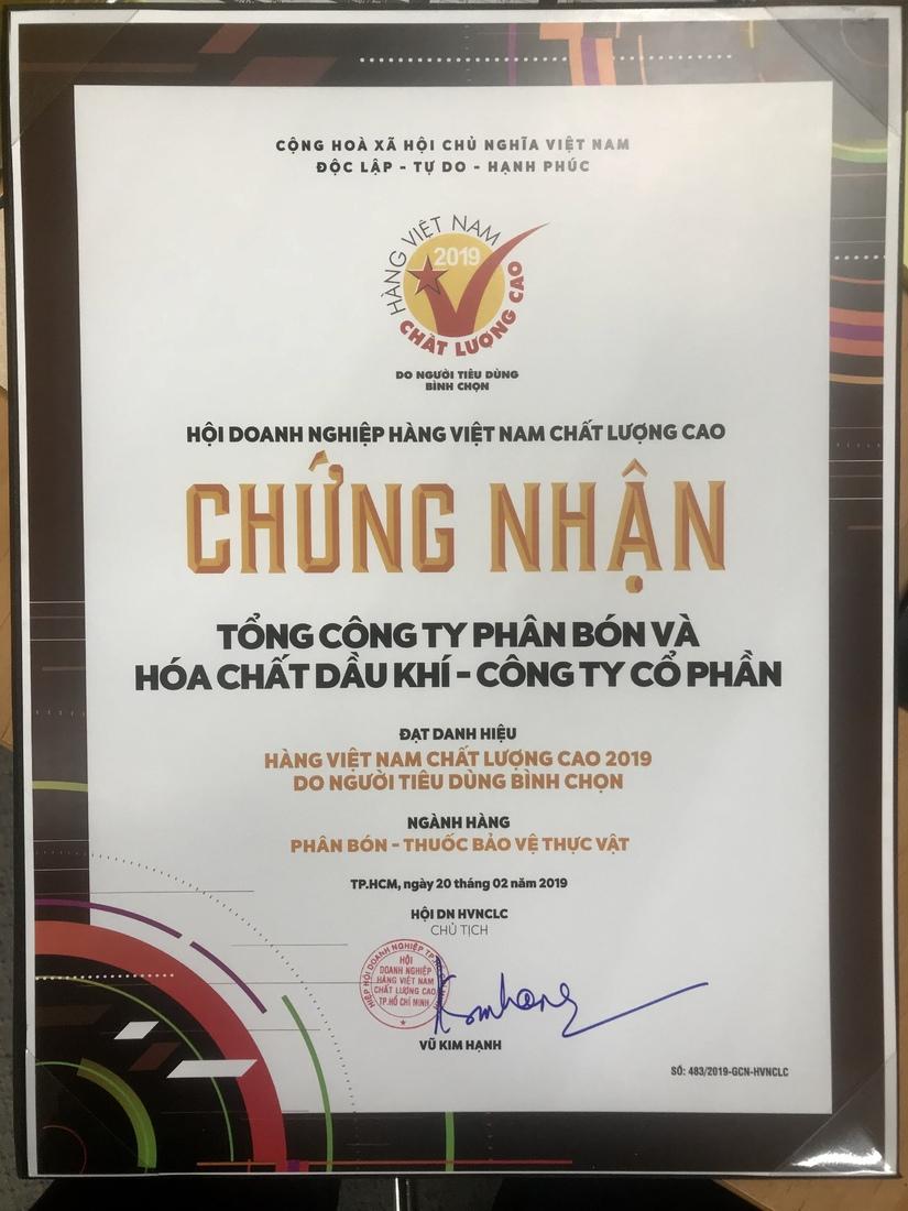 PVFCCo tiếp tục được trao tặng danh hiệu Hàng Việt Nam chất lượng cao năm 2019