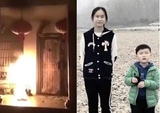Chị gái dùng thân che chắn bảo vệ em trai khỏi đám cháy