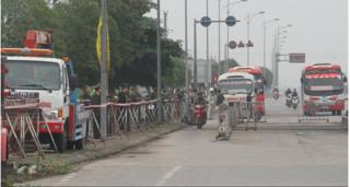 An ninh thắt chặt trong ngày trạm BOT Mỹ Lộc thu phí trở lại