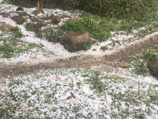 Hình ảnh mưa đá xảy ra trên địa bàn huyện Văn Bàn ngày 19/3
