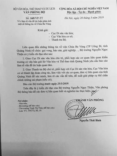 Bộ VH-TT&DL yêu cầu làm rõ vấn dề gọi vong, báo án, giải nghiệp tại chùa Ba Vàng