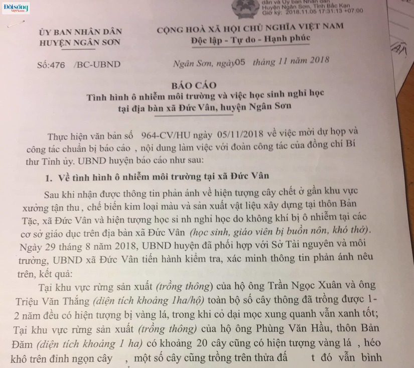 (Kỳ 2) Doanh nghiếp tư nhân Cao Bắc gây ô nhiễm: Nghi vấn xung quanh báo cáo của UBND huyện Ngân Sơn2