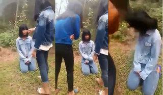 Lại xuất hiện clip nữ sinh bị bạn tát, bắt quỳ xin lỗi ở Nghệ An
