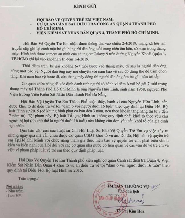 Hội Bảo vệ quyền trẻ em TP.HCM kiến nghị khởi tố vụ sàm sỡ trong thang máy