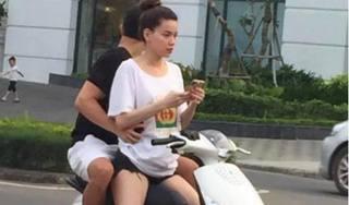 Không đội mũ bảo hiểm, Hồ Ngọc Hà và Kim Lý bị ném đá