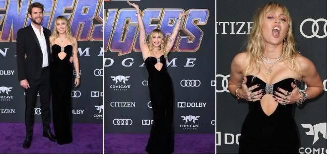 Miley Cyrus và Liam Hemsworth gây bất ngờ khi phấn khích tại lễ ra mắt phim Thor