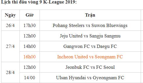Lịch thi đấu vòng 9 K.League cuối tuần này
