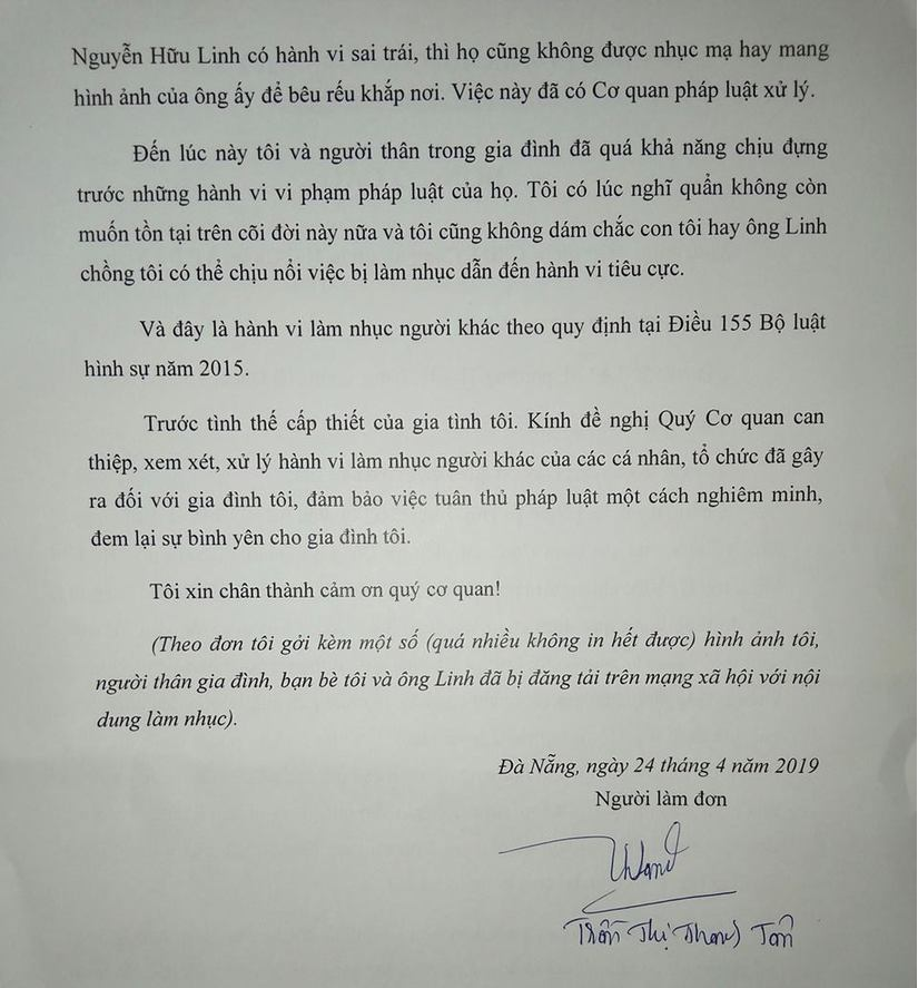 Vợ ông Nguyễn Hữu Linh bất ngờ rút đơn tố cáo việc bị làm nhục