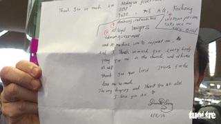 Nội dung bức thư bằng tiếng anh của Đoàn Thị Hương khi được thả tự do
