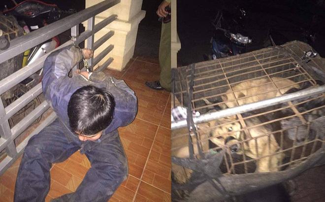 Đối tượng trộm chó bị công an bắt giữ.
