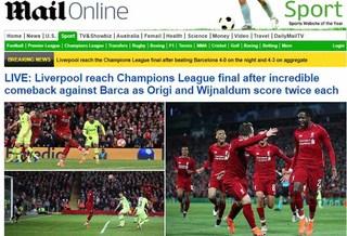 Báo chí quốc tế 'choáng váng' vì màn trình diễn của Liverpool trước Barca