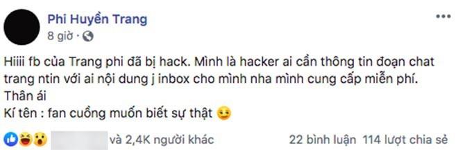 Haker lấy facebook của Phi Huyền Trang dọa tung tin nhắn sau nghi vấn lộ clip nóng