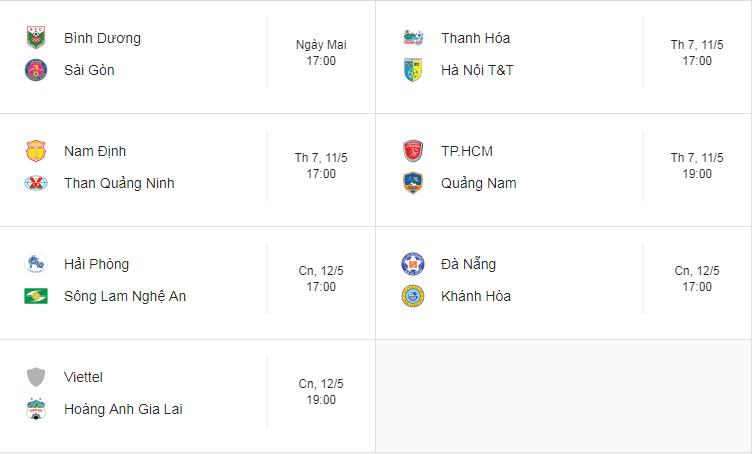 Lịch thi đấu vòng 9 V.League: HAGL rộng cửa giành trọn 3 điểm