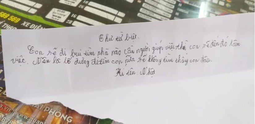 Cậu bé 11 tuổi viết thư để lại cho gia đình rồi bỏ nhà đi.
