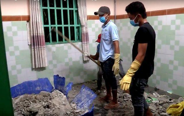 Sau khi giết người, nhóm đối tượng đổ bê tông lên để đỡ phát mùi. Ảnh VietNamNet