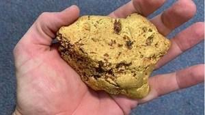 Dò kim loại, người đàn ông tìm thấy cục vàng nặng 1,4 kg