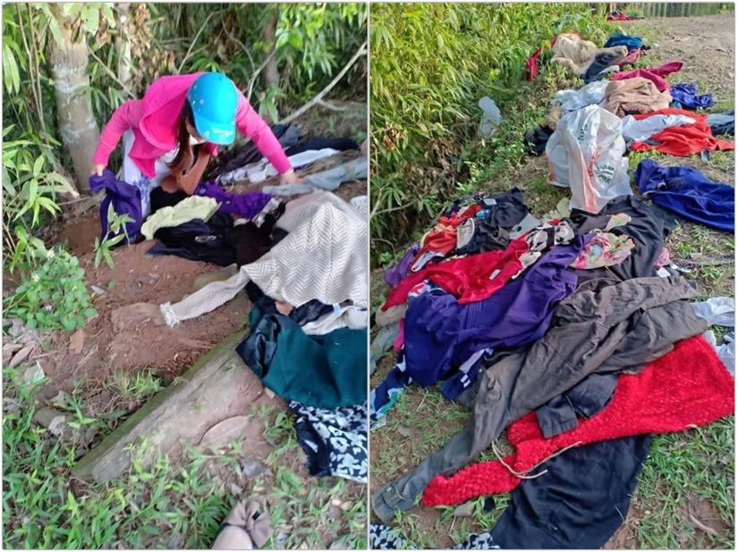 Bức xúc nhóm phụ nữ đi xin quần áo từ thiện rồi vứt bỏ