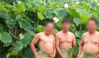 Dân mạng phẫn nộ vì 3 người đàn ông dùng lá sen che vùng nhạy cảm