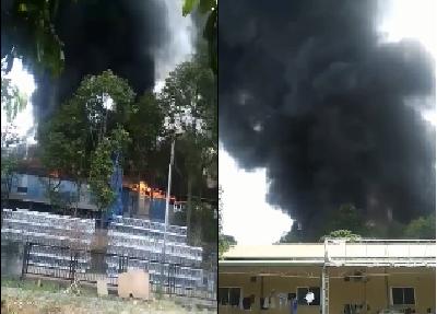 Khu công nghiệp cháy ngùn ngụt giữa trưa gây thiệt hại cả tỷ đồng