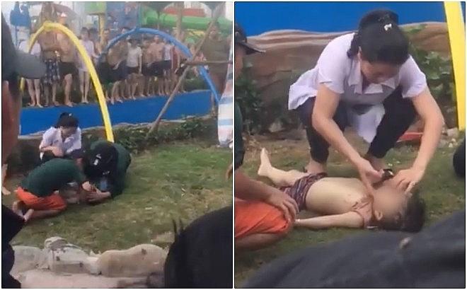 Hiện trường bé trai 4 tuổi bị đuối nước tại công viên Thanh Hà.