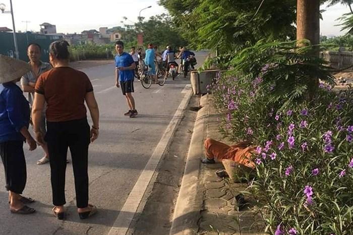 Hiện trường nữ lao công bị tông tử vong.