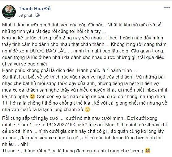 Bạn thân tiết lộ 'góc khuất' chuyện tình Đàm Thu Trang và Cường Đô la