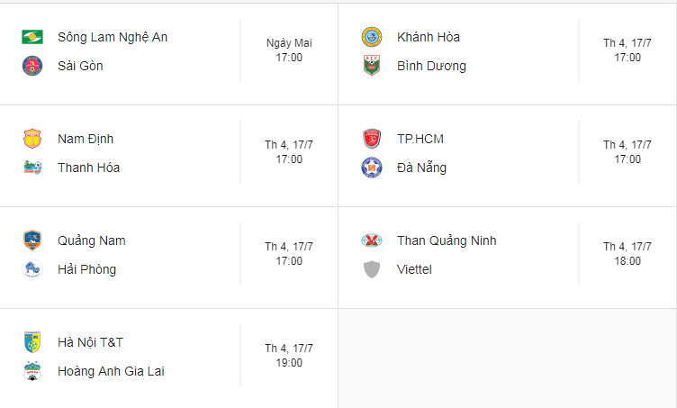 Lịch thi đấu vòng 16 V.League: HAGL đại chiến Hà Nội FC