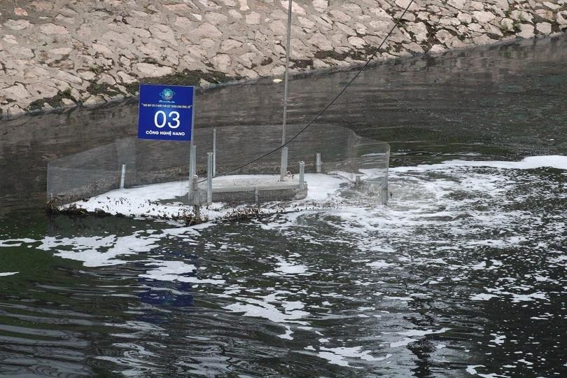 Máy lọc nước công nghệ Nhật Bản ở sông Tô Lịch vẫn hoạt động sau 2 tháng.
