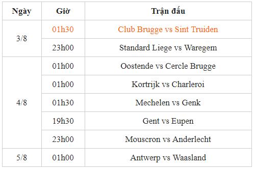 Lịch thi đấu vòng 2 giải VĐQG Bỉ: