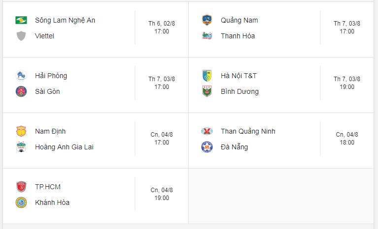 Lịch thi đấu vòng 19 V.League