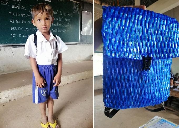 Xúc động trước tình cảm của người cha nghèo tự làm balo cho con trai đi học