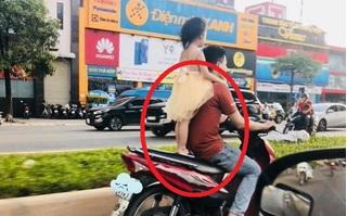 Thót tim người đàn ông để bé gái đứng sau yên xe rồi phóng 'tít mù'