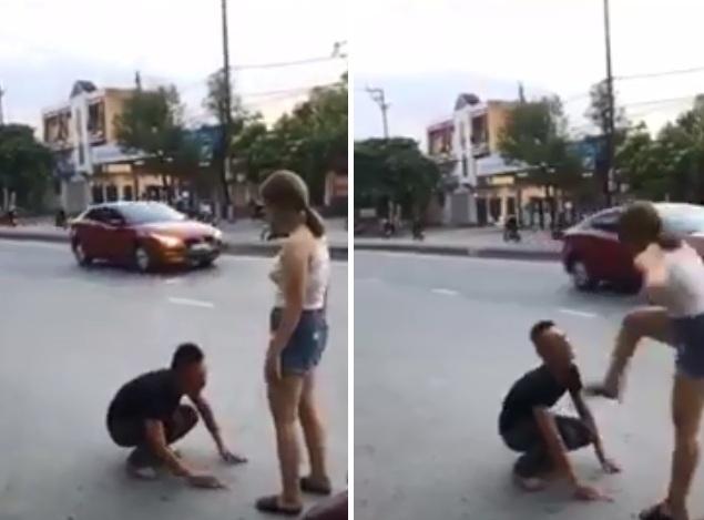 Vì níu kéo người yêu, nam thanh niên quỳ giữa phố