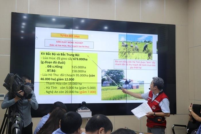 Ông Nguyễn Đức Quang – Phó Chánh Văn phòng Ban chỉ đạo Trung ương về PCTT báo cáo tổng quan về tình hình ứng phó với bão số 4, sáng 29/8