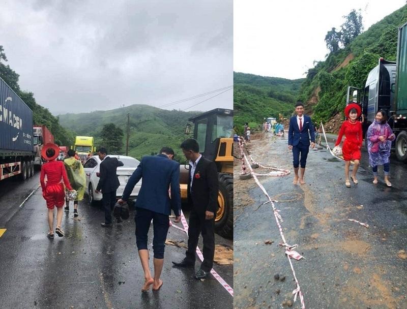 Đám cưới ngày mưa lũ: Chú rể xắn quần lội nước cõng cô dâu về nhà