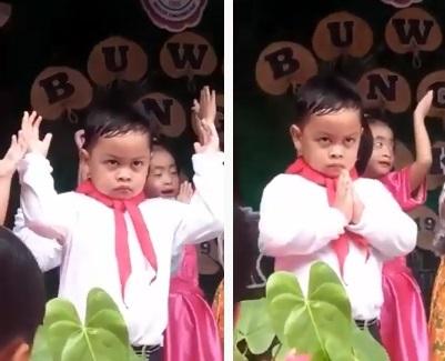 Clip: Cười nghiêng ngả với gương mặt khó đỡ của cậu bé khi đi múa