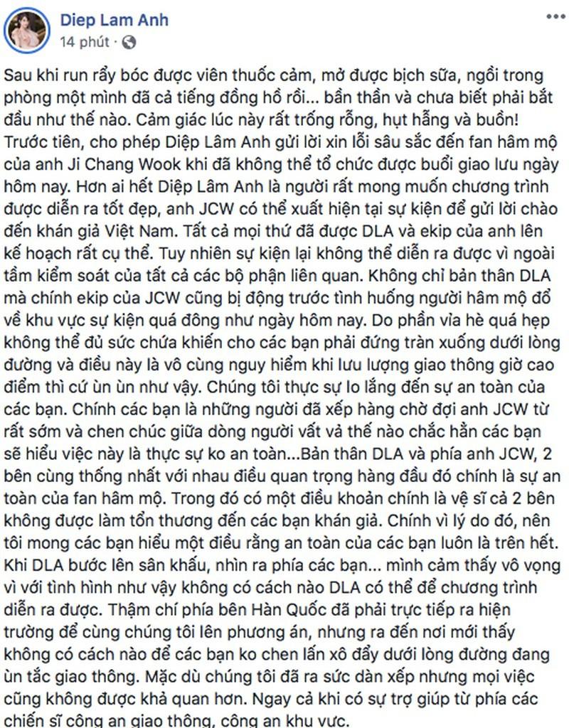 Diệp Lâm Anh lên tiếng về cú lừa Ji Chang Wook: Xin lỗi mọi người nhiều nhé!