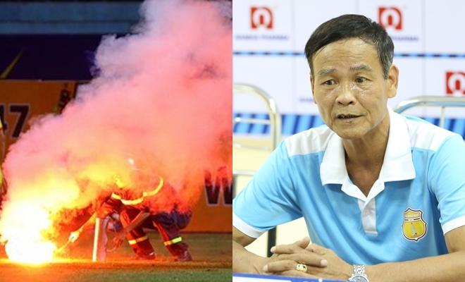 HLV Nam Định lên án: Phần tử nào đó đốt pháo sáng, không phải Hội CĐV CLB