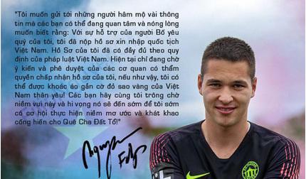Filip Nguyễn báo tin vui cho người hâm mộ bóng đá Việt Nam