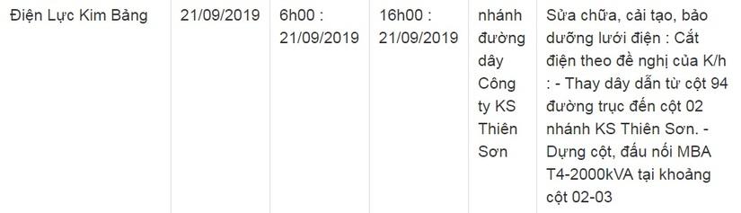 Lịch cắt điện ở Hà Nam ngày 21 và 22 tháng 9/20194