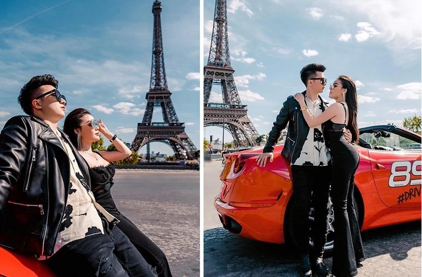 Âu Hà My cùng chồng bên siêu xe Ferrari dưới chân tháp Eiffel