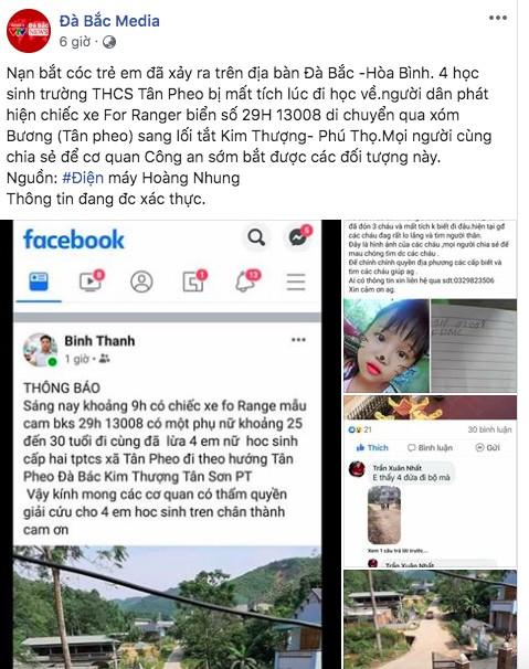 Sự thật thông tin 4 nữ sinh bị bắt cóc lên xe ô tô ở Hoà Bình