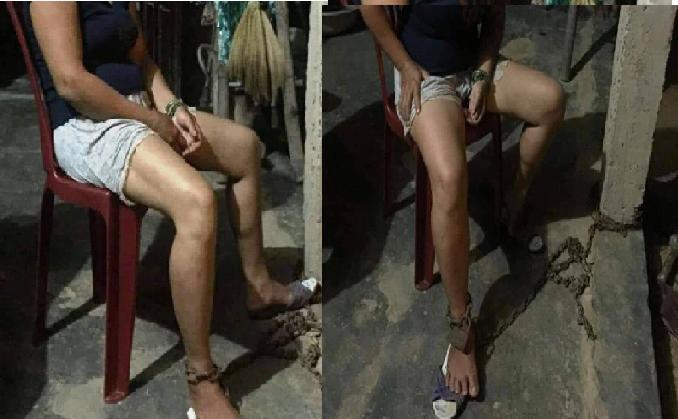 Phẫn nộ hình ảnh người phụ nữ bị chồng đánh đập, xích chân vào hiên nhà