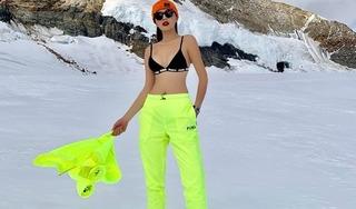 Hoa hậu Kỳ Duyên mặc nội y khoe body dưới cái lạnh âm độ tại ngọn núi cao nhất Châu Âu